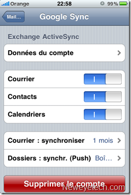 Activer la synchro courrier, contacts, calendriers