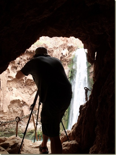 10 Jake photographing Mooney Falls from cave hole on trail back up Havasupai Indian Reservation AZ (768x1024)