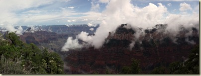 07 Clouds on temples, SR & Widforss Plateau from BAP trail NR GRCA NP AZ pano (1024x386)