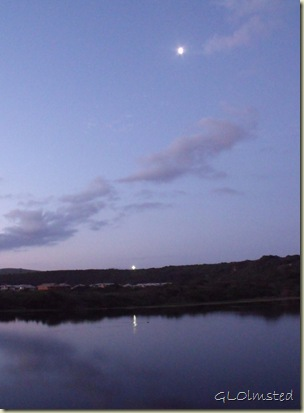 08 Sunset, moon & lit cross reflected in river Riviera Hartenbos Garden Route Western Cape ZA (750x1024)