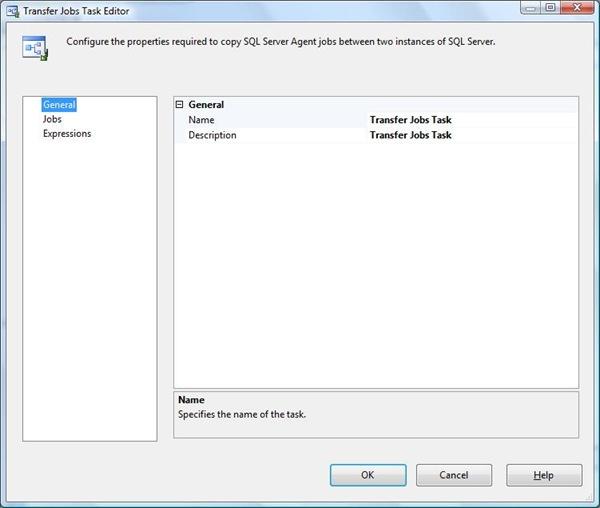 SSIS Transfer jobs Task Editor