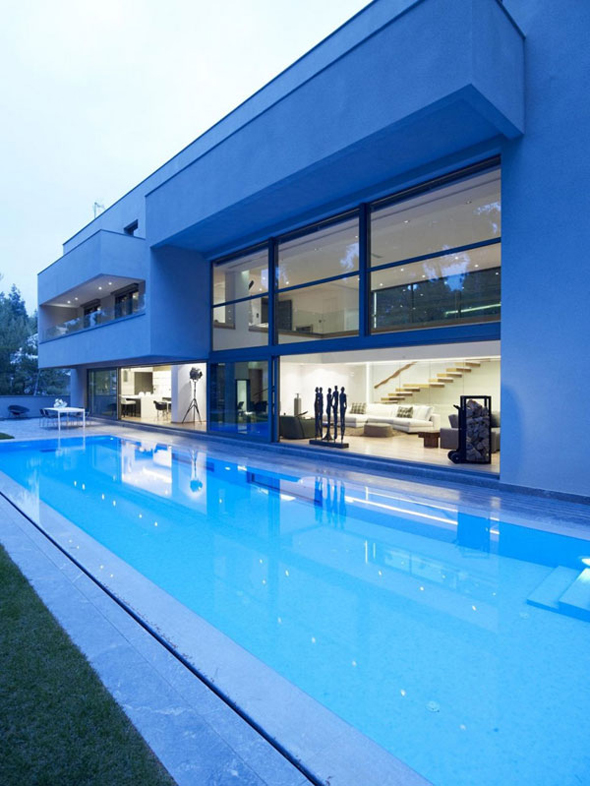 modern blue house architecture design ideas photos