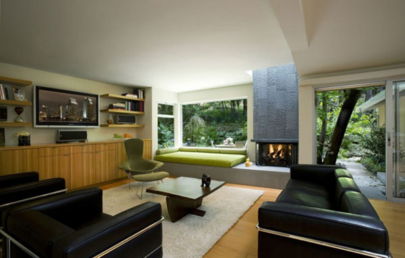 modern beautiful family room with lcd