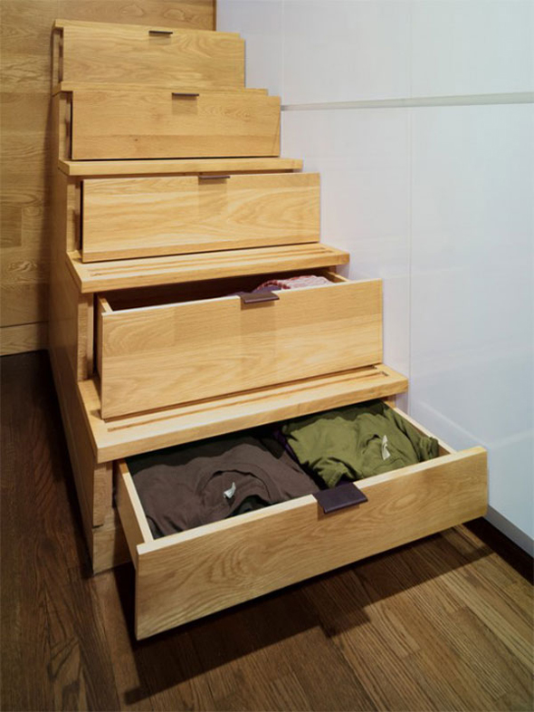 incredible modern wooden rack stairs design