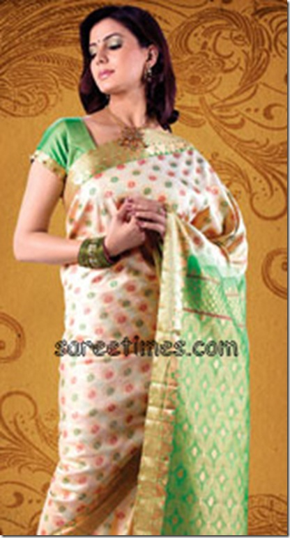 Cream-Green-Silk-Saree