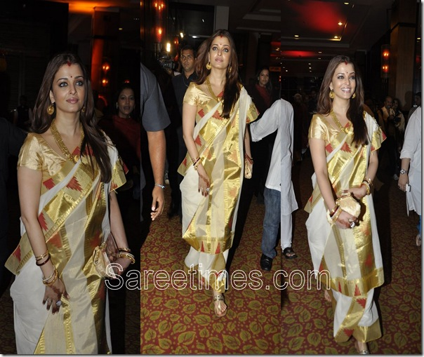 Aishwarya Bachchan_White_Traditional Saree