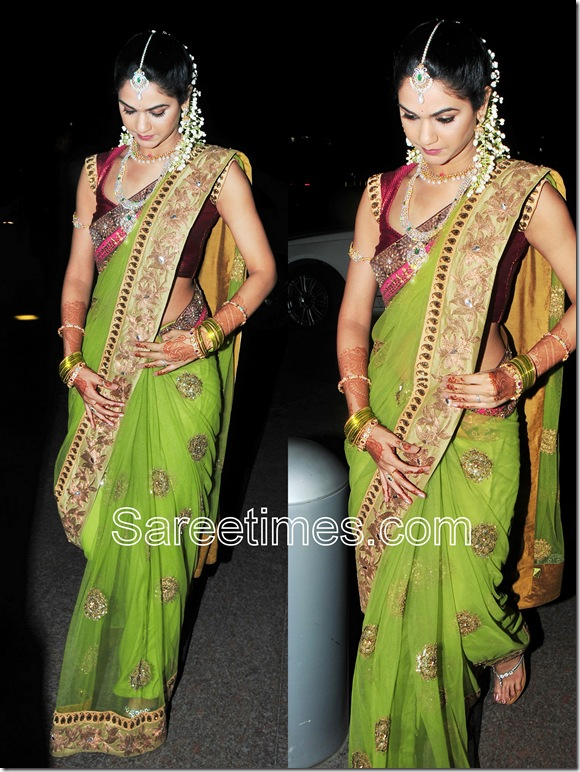 Sneha_Reddy_Green_Georgette_Saree