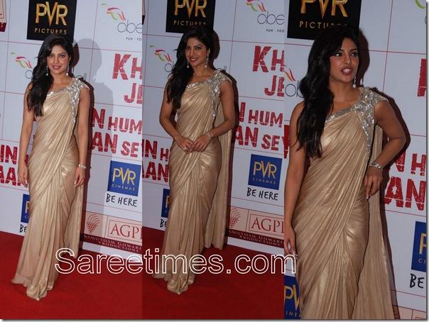 Priyanka_Chopra_Cream_Sari