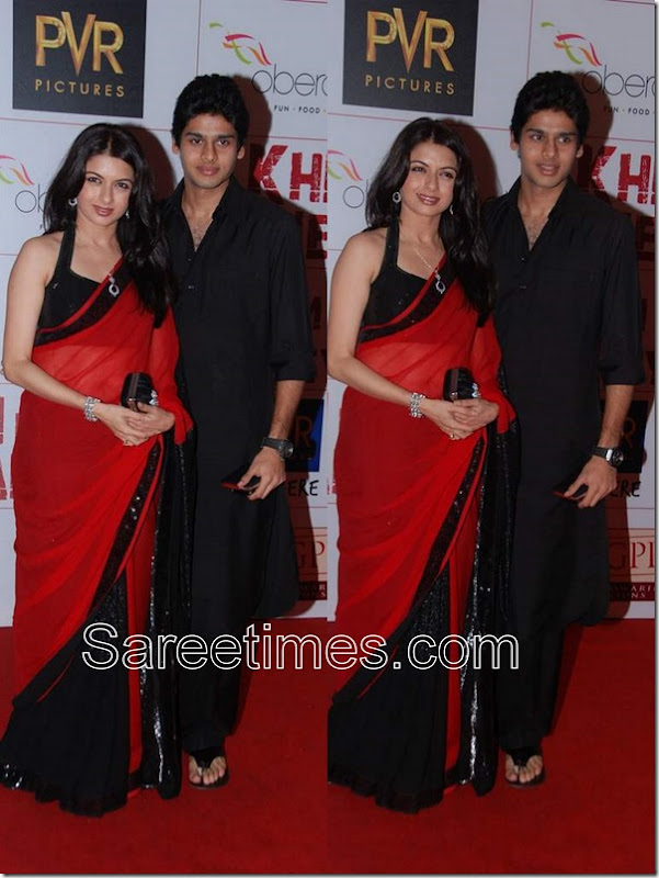Bhabyashree_Red_Black_Saree