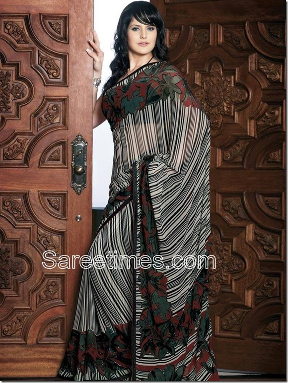 Zarine_Khan_Grey_Georgette_Saree