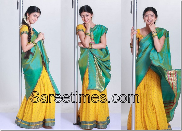 Pranitha_Green_Yellow_Half_Saree