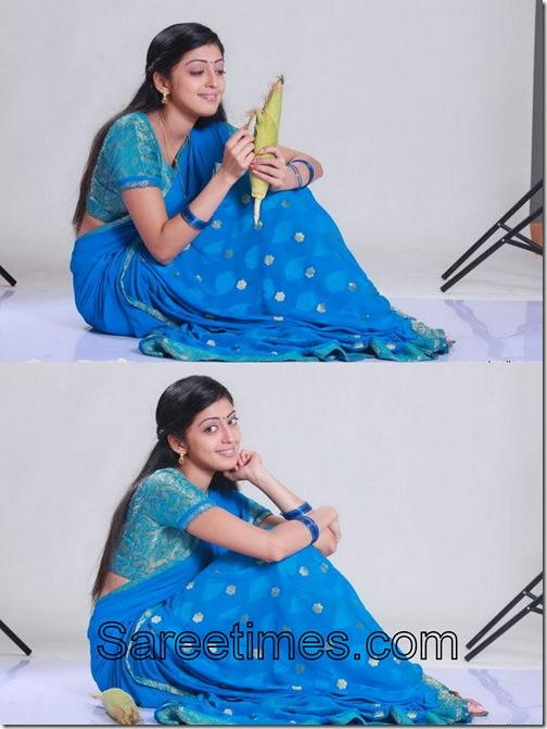 Pranitha_Blue_Designer_Saree