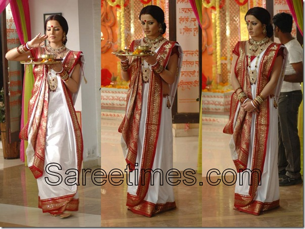 Celina_Jaitley_White_Traditional_Saree