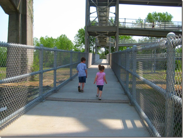 Reagan &amp; Allen walking to the bridge