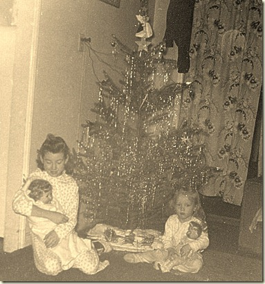 Sharon and Mary Christmas 1954 001