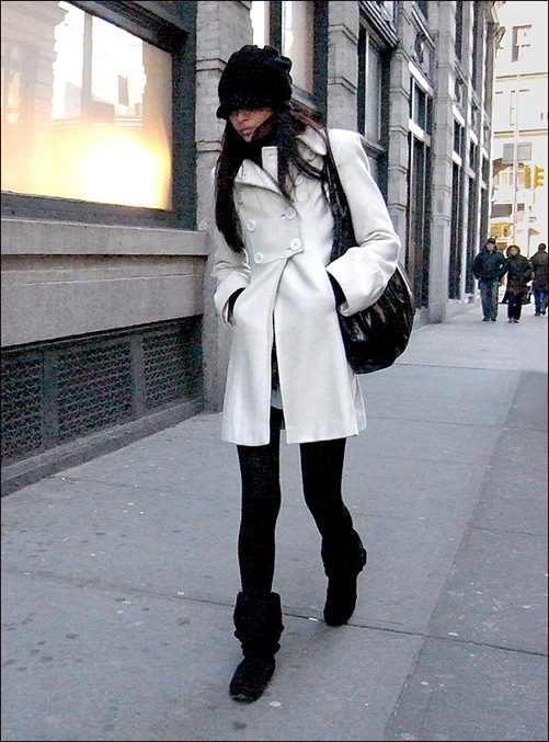 w white dbl breasted coat