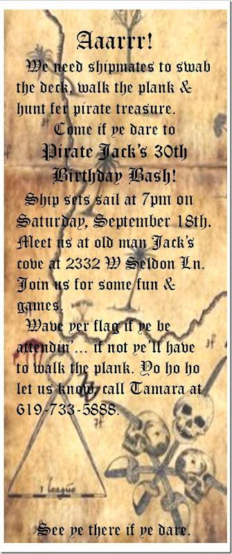 Jack's 30th B'day Invite