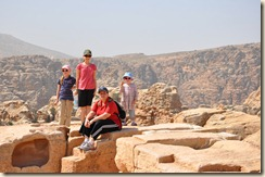 Colleen, Celine, Tally and Lillian at the High Places in Petra.