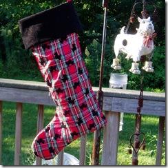 stocking red plaid flocked3
