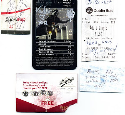 a variety of submissions - 1 a Cineworld cinema ticket reading Make it stop raining! - 2 a Darth Vader Star Wars Card with tippex reading Vader heart you, 3 a Dublin bus ticket with here was my journey! written on it and 4 a Bewley's Café loyalty card.