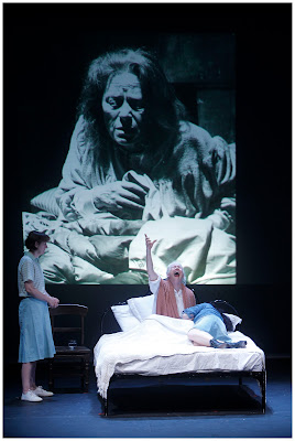 Jane Brennan, Marie Mullen and Derbhle Crotty in a scene from Bailegangaire by Tom Murphy. Photo by Colm Hogan