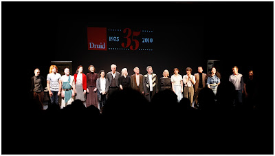 The cast of the Druid Theatre 35th Birthday celebrations on stage at Galway Town Hall