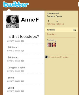 Anne Frank's twitter page - her last tweet is is that footsteps?