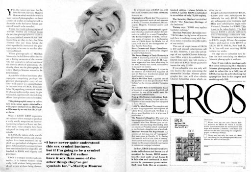 Eros was an infamous, short-lived soft porn magazine published by Ralph ...