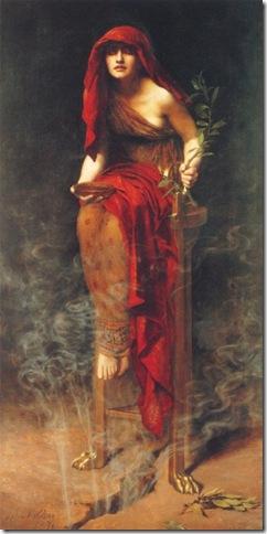 Sacerdotisa de Delfos, John Collier, óleo sobre tela, Inglaterra, 1891