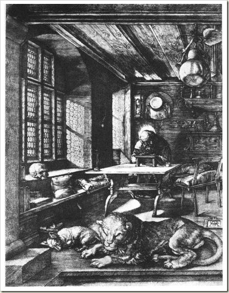 São Jerônimo, Dürer - 1514, litogravura, MMA, NY.