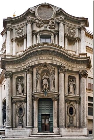 Fachada de San Carlo alle Quattro Fontane, Borromini, 1665-67