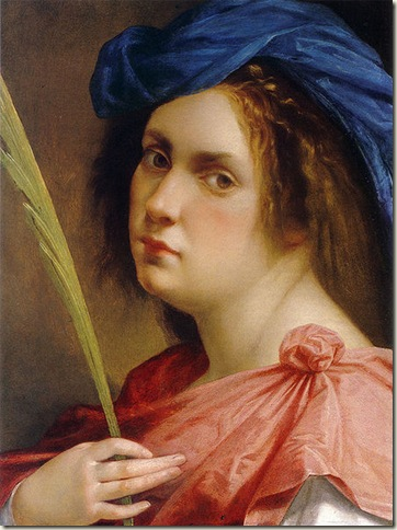 Aremisia Gentileschi, auto retrato, 1615, óleo  sobre tela