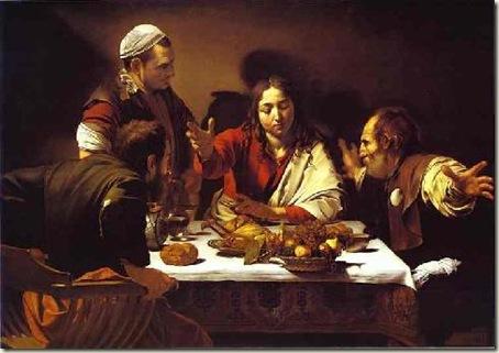 A Ceia em Emaús, Caravaggio, 1601, óleo e têmpera sobre tela