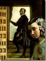 detalhe, No vão da escada, que abre um novo espaço, encontra-se José Nieto, primeiro-chefe tapeceiro da rainha.
