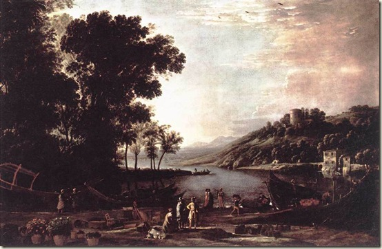 Paisagem com Comerciantes, Claude Lorrain, c. 1630