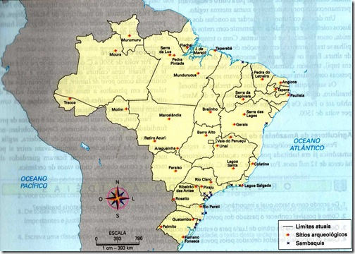 mapa sítios arqueológicos do Brasil