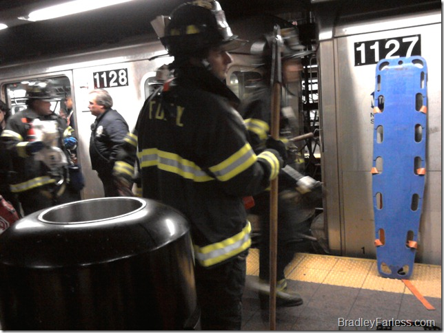 Emergency responders in Union Square station, where a man was wedged between the train and the platform.