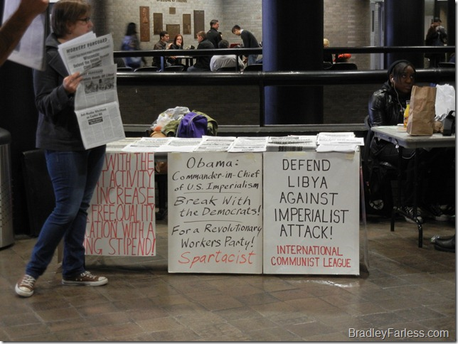 Communist students at City College of New York protesting Obama and US action in Libya.