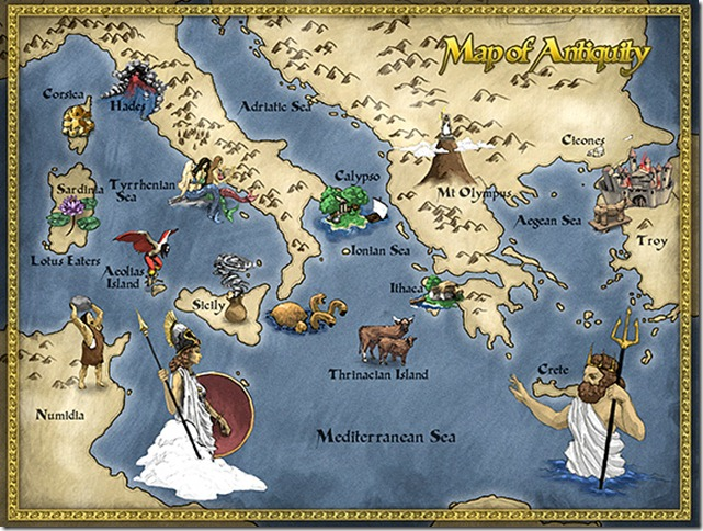 A map of places visited in The Odyssey.