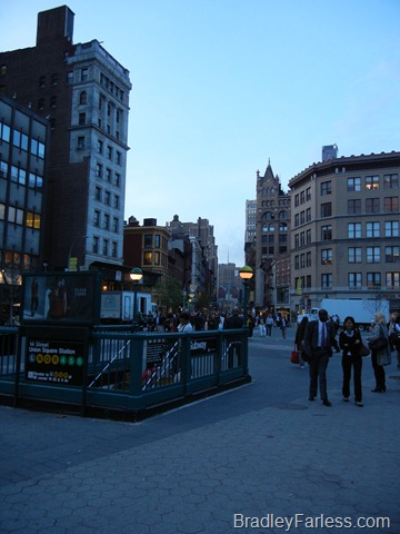 Subway entrance at Union Square, Manhattan, New York City.