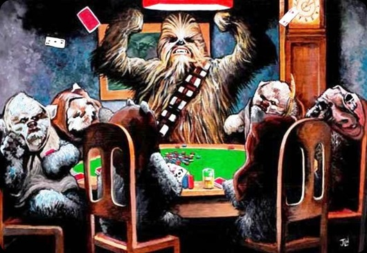 cool star wars photos chewie and ewoks playing poker
