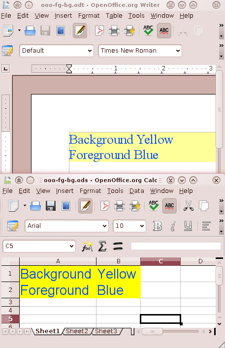system colors and openoffice