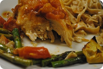 Chicken Vera with Tomatoes and Artichokes, Fresh Asparagus, and Pasta