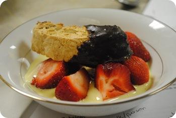 Zabaione with fresh strawberries and chocolate-dipped biscotti