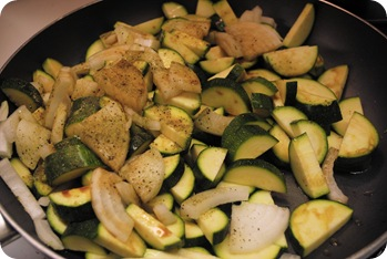Greek seasoning on zucchini and onions