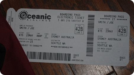Oceanic flight 815 ticket