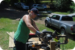 Me cutting wood