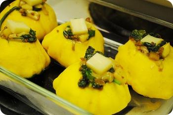 stuffed pattypan squash pre-oven