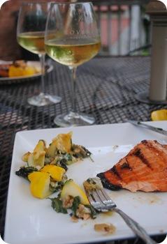 squash + salmon + chardonnay
