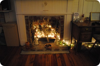 Lights in fireplace